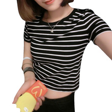 New 2016 Women Tops Summer Ladies Tshirt Sexy Crop Tops Striped Short sleeved T-shirt Short Women Clothing Slim Kawaii Top
