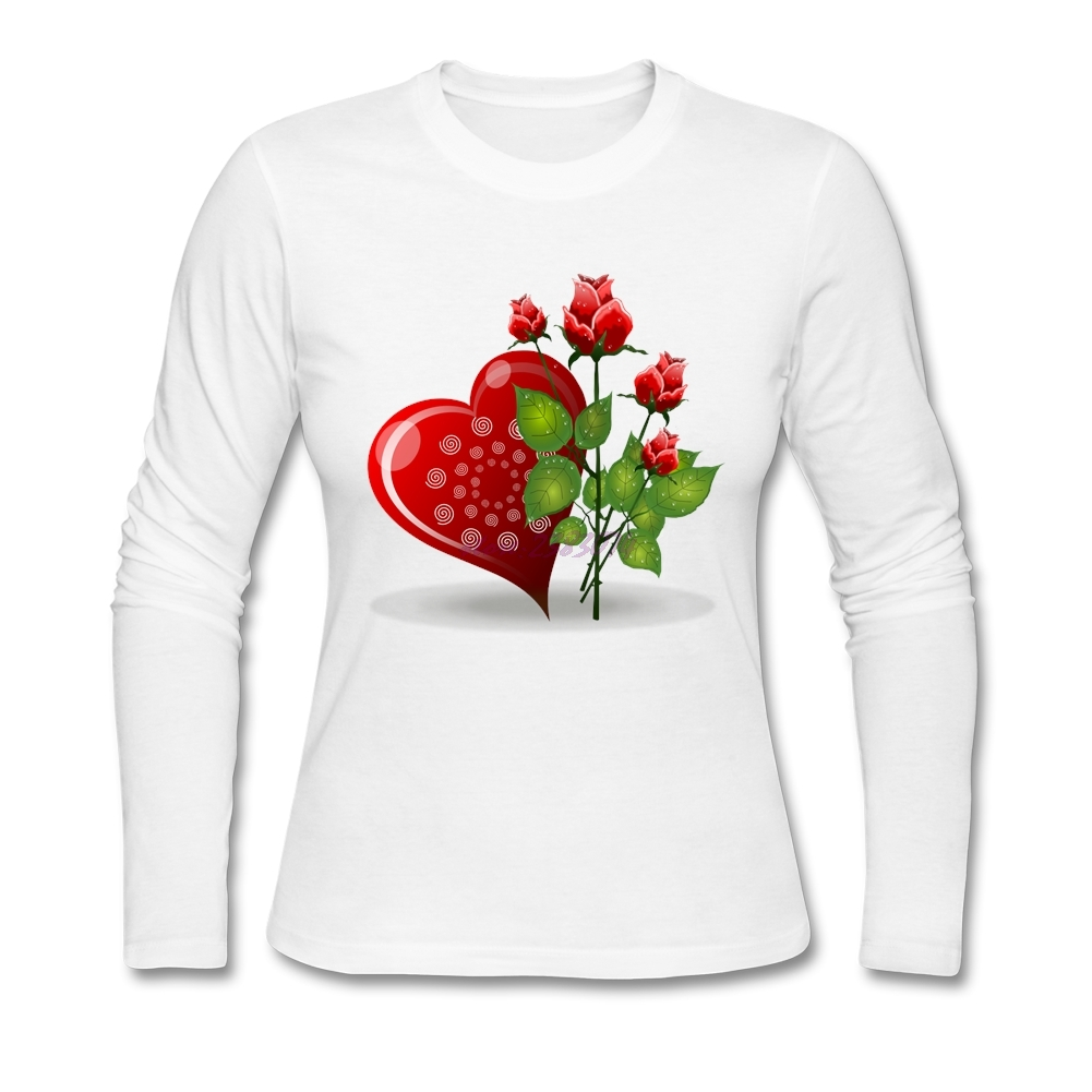 Design your own t-shirt female - Positive Woman Love Rose Full Sleeves Tops Female 100 Cotton Round Collar Design Your Own Shirt