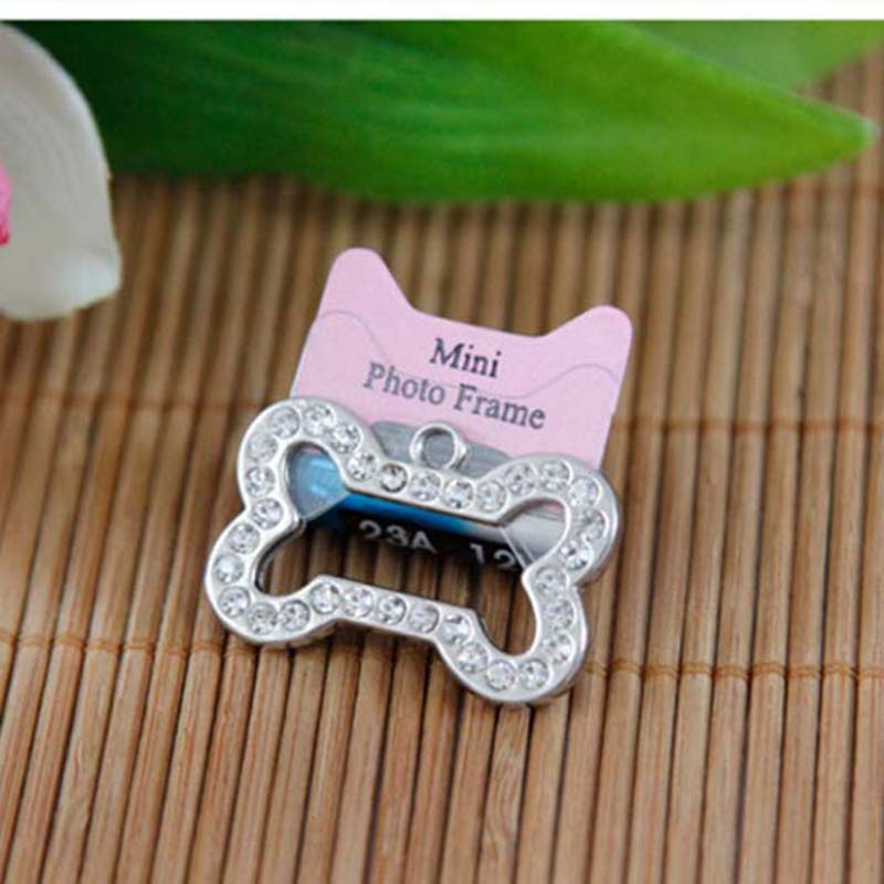2 Size Cute Stainless Steel Metal Bone Shaped Pet Dog Cat ID Tag Name Tags(China (Mainland))
