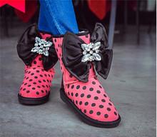 2015 Luxurty niñas de cuero nobuck dulce Polka Dot Bowtie planos Comfort caliente del invierno botas cortas nieve para zapatos de mujer más tamaño(China (Mainland))