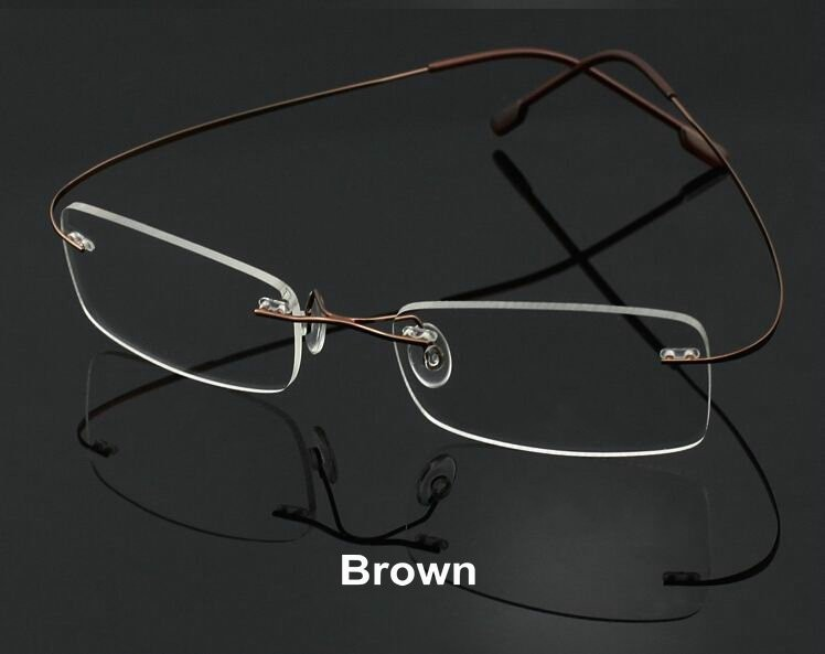 Free Shipping Ultra-light Rimless Rim Frame non-screw memory titanium flexible Eye glasses prescription spectacle optical frame