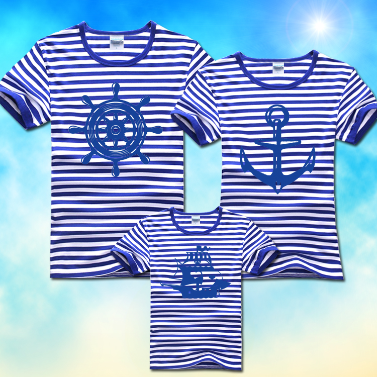 $25.8 / 3pcs COTTON family sets t shirt summer navy style fashion Parent-child outfit short sleeve t shirt for momo baby man(China (Mainland))