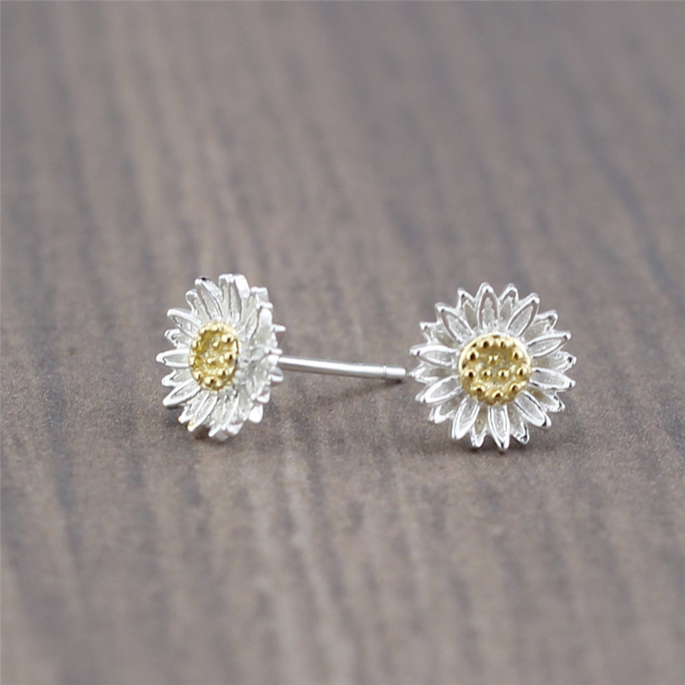 New Design 925 Sterling Silver Sun Flower Daisy Stud Earring Two Tone Free Shipping(China (Mainland))