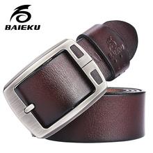 BAIEKU 100% бычья кожа натуральная кожа ремни для мужчин бренд Ремень мужской пряжкой фантазии старинные джинсы cintos бесплатная доставка(China (Mainland))