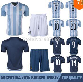 Camisa Argentina 2015 Soccer Jerseys,Chandal Argentina Jersey 2016 Camiseta Maillot Shirt +Short Messi Futbol Uniforms Set 15 16(China (Mainland))