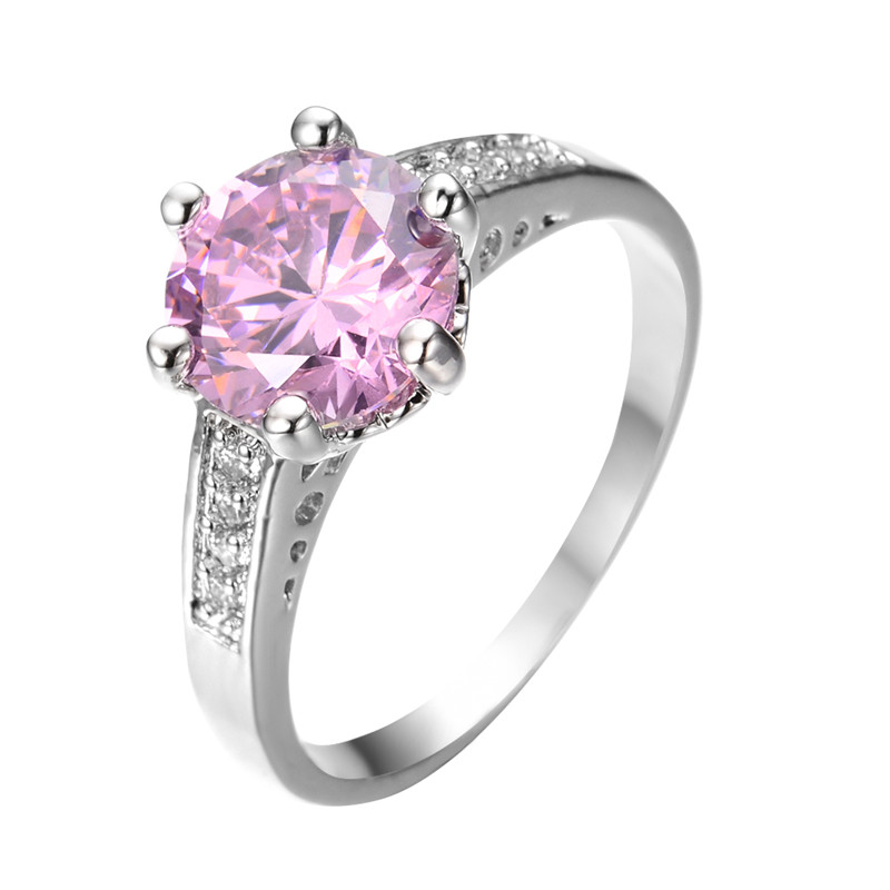 Здесь можно купить  Round Rhinestone Ring Pink Sapphire White Gold Filled Cubic Zircon Crystal Stone Ring For Women Girl Engagement Gift RW0701    Ювелирные изделия и часы