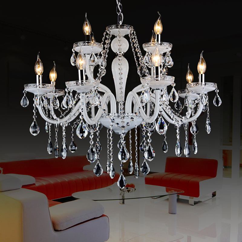 k9 chandeliers crystal lamp white grand lustre moderne kronleuchter aus kristall lustre suspension meerosee lighting(China (Mainland))