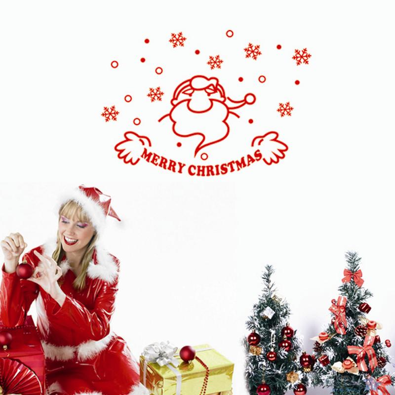 Buy merry christmas snowflake santa for Christmas wall mural plastic