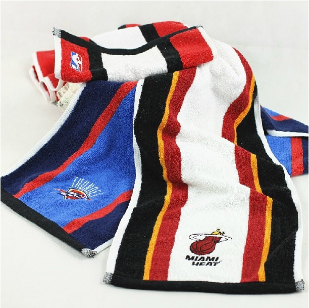 New 2014. Novelty Basketball Miami Heat Thunder Cotton Towel,25X100 cm.Fans Swimming Sports Surfing Face Towels.Free Shipping(China (Mainland))