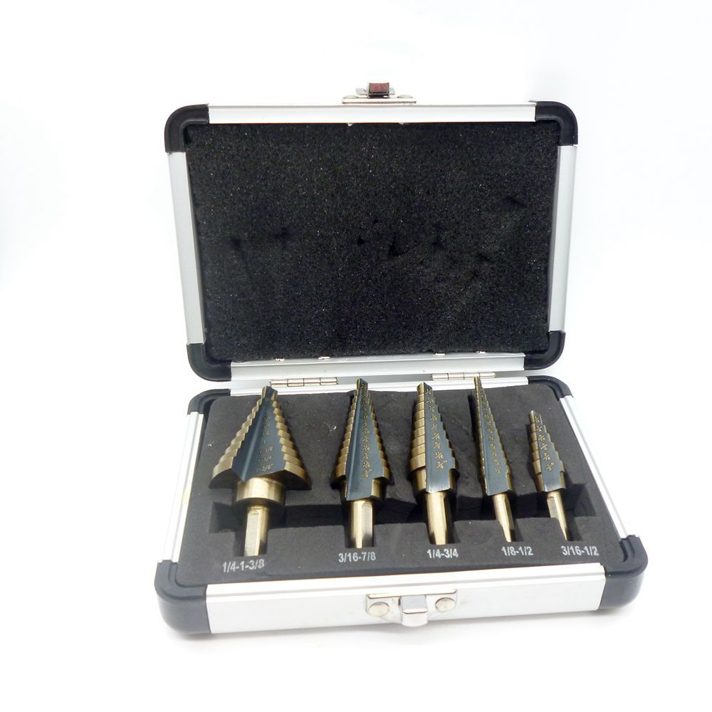G 5pcs Hss Step Drill Bit Cobalt Multiple Hole 50 Sizes Step Drills Set 1/4-1-3/8 3/16-7/8 1/4-3/4 1/8-1/2 3/16-1/2 Aluminum Cas<br><br>Aliexpress