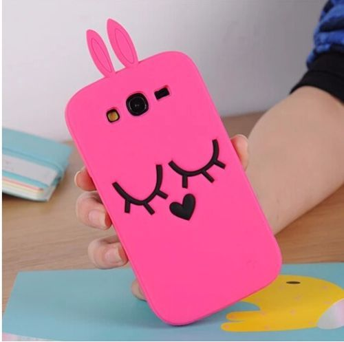 For Samsung Galaxy Grand Duos i9082 Rose Red Cartoon Rabbit Silicone Soft Back Cover Case Free Shipping(China (Mainland))