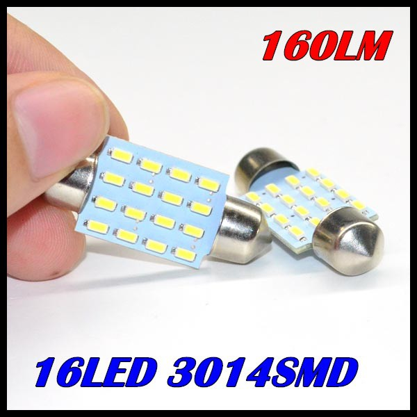 10 reading light 31MM 36MM 39MM 42MM 16LED 3014SMD 160LM C5W Interior Festoon led dome car LED Bulb White - GZ Auto Parts Center store