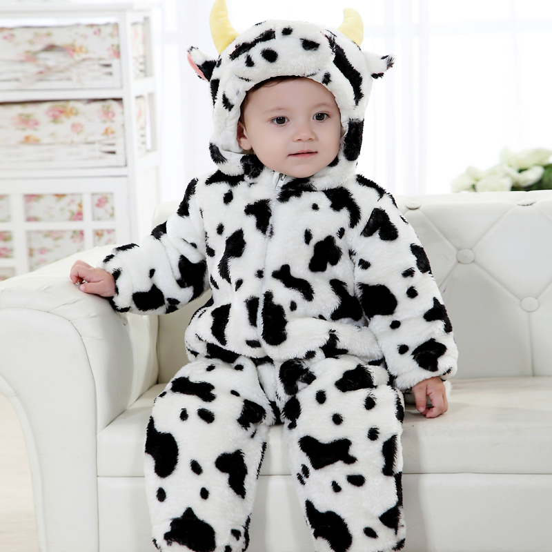2014 new thickening 3D object flannel materials milk cow style baby clothes baby romper clothes sets(China (Mainland))
