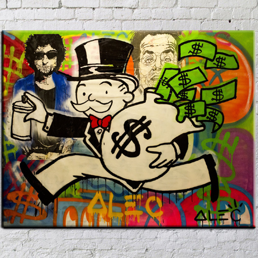 Alec monopoly Street Painting Big Graffiti Art Canvas for Wall Picture Decoration Painting in Living Room cheap modern paintings(China (Mainland))