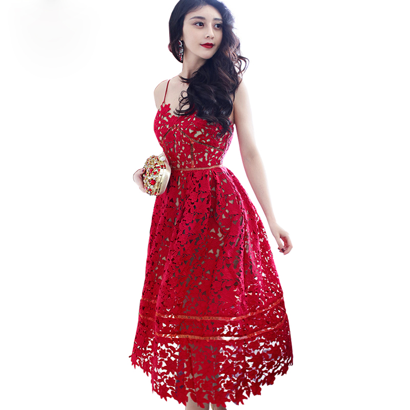 Summer 2016 long red lace dress formal spaghetti strap lace dress beach dresses Party dresses(China (Mainland))