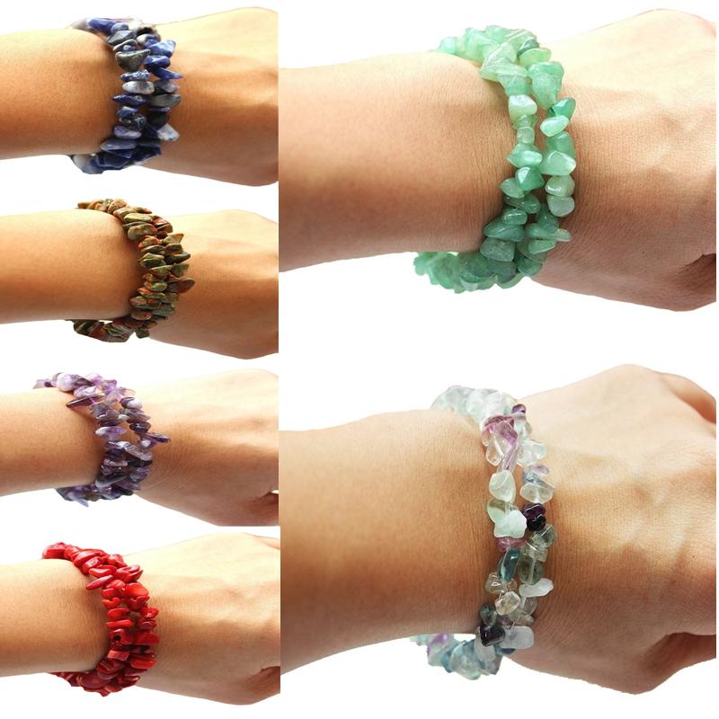 Free shipping 9 Colors Jade Coral Turquoise Bracelets Amethyst Agate Stone Bangle Stone Chips Bracelet(China (Mainland))