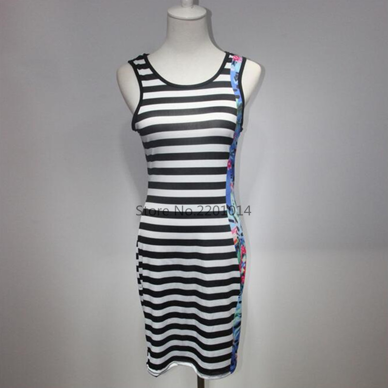 Women Summer Dress 2016 Vestido De Festa Womens Clothing Kardashian Sundress Robe Sexy Plus Size Black and White Striped Dress(China (Mainland))