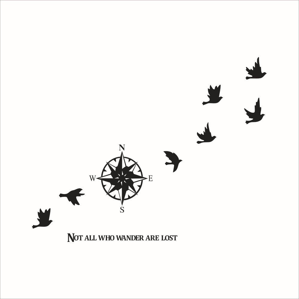 8161 Compass direct birds Wall Sticker Modern Vinyl Wall Art Compass Wallpaper Decorative Modern Wall Art Stickers(China (Mainland))