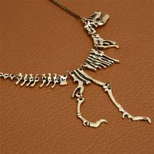 סקסי ארוך שרשרת גותי טירנוזאורוס רקס דינוזאור שלד תליון קסם שרשרת דרקון עצם סגסוגת Collares תכשיטי כסף(China)