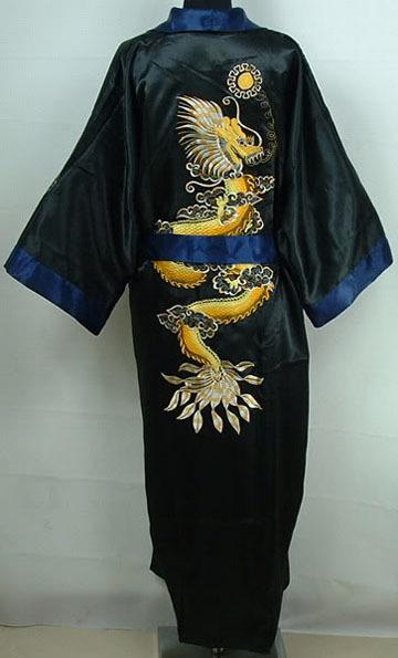 Синий черный мужская реверсивный халат китайский стиль платье халат вышитые пижамы ...