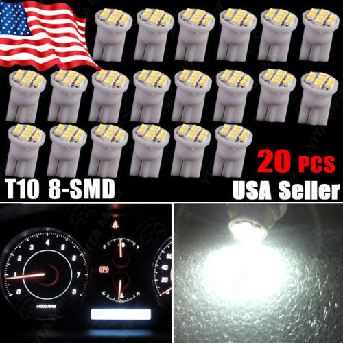 20pcs/lot Interior External Car led Light Bulbs T10 8-SMD Wedge White W5W 168 194 Dashboard Instrument Panel Indicator Light -(China (Mainland))