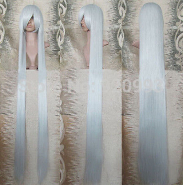 sush##@@0028877++Inuyasha Sesshomaru Cosplay Wig Silver White 150cm Super Long Straight(China (Mainland))