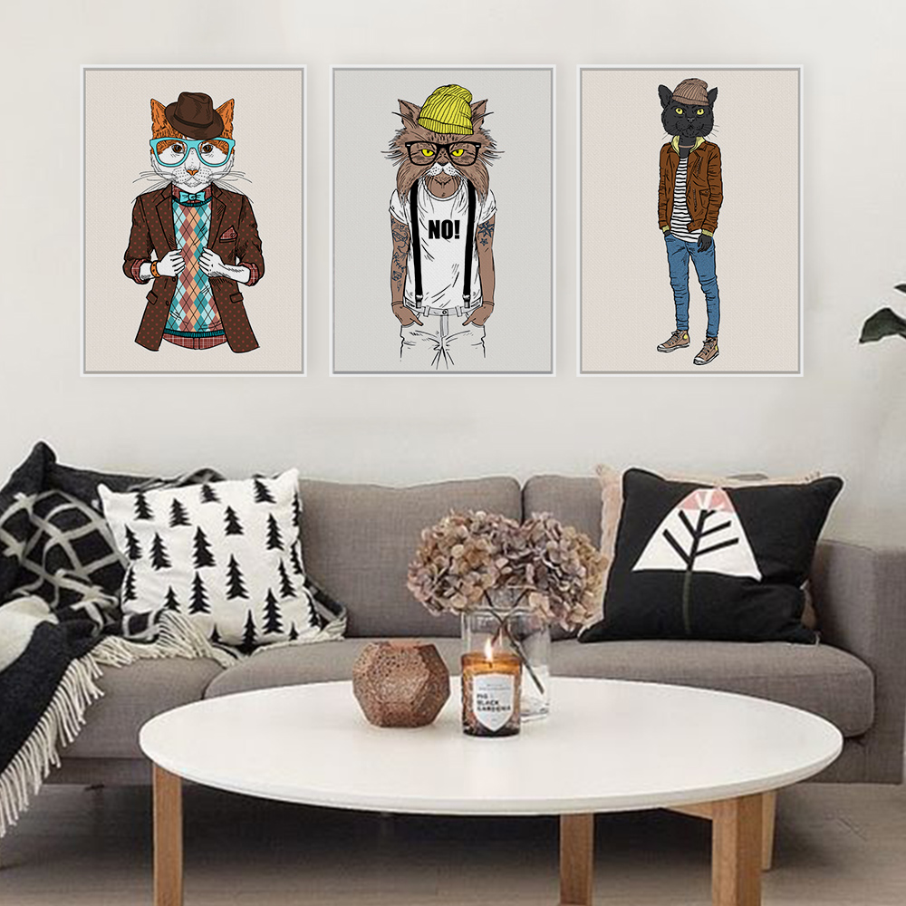 Modern Fashion Animals Cat Cartoon A4 Large Art Prints Poster Hippie Wall Picture Canvas Painting No Framed Kids Room Home Decor