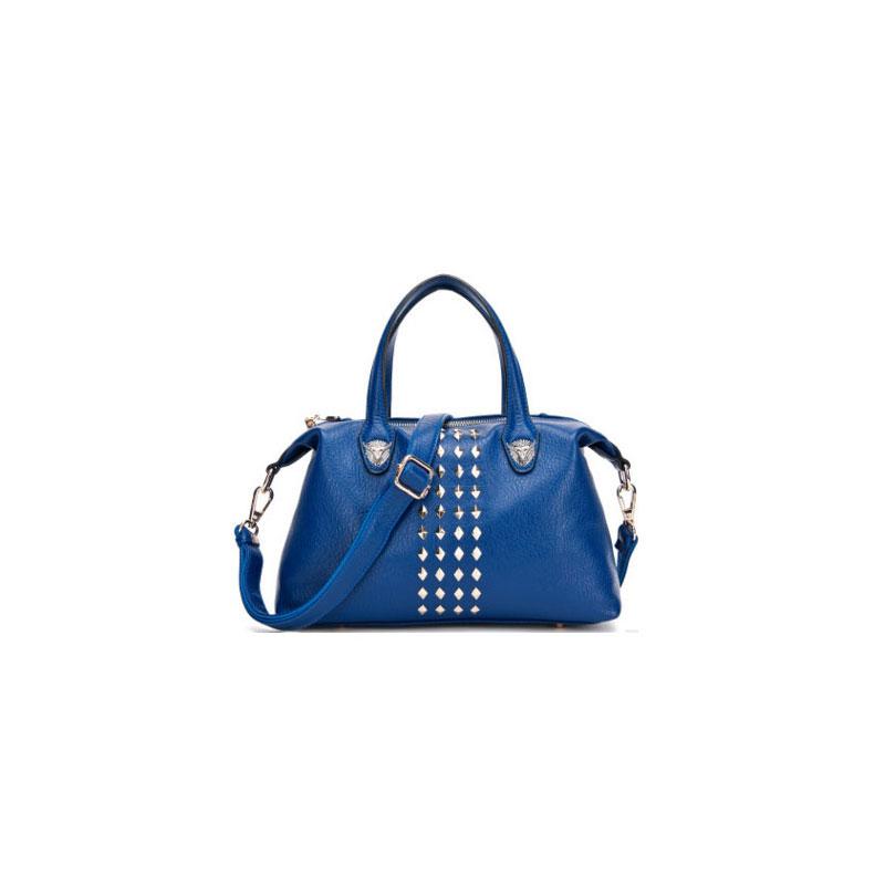 Korean women new spring supply leisure shoulder handbag leather bag rivets cross dumplings