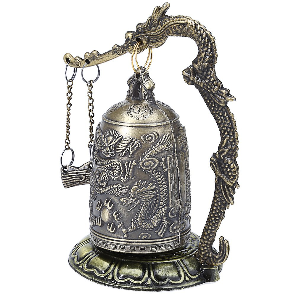 On Sales! Retro Zinc Alloy Vintage Style Bronze Lock Dragon Carved Buddhist Bell Chinese Geomantic Artware Exquisite Home Decor(China (Mainland))