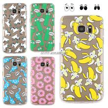 Soft TPU 3D Cute Cartoon Eyes Move Cat French fries banana Popcorn Phone Samsung Galaxy S7 Edge case S6 Note 5 A5 A7 Cover - Elite Electronic CO., LTD store