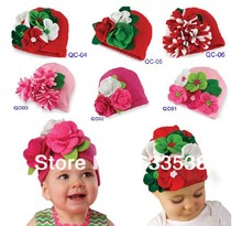 Retail & Hot Fashion Baby Christmas Hat With Flowers For Autumn Winter Kids Caps Beanies Hat Toddler Boys Girls Infant Cap 008