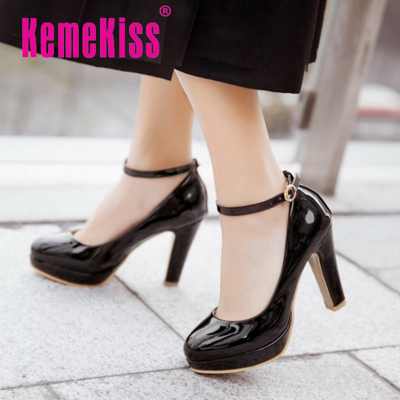 women stiletto thin heel high heels shoes ankle strap round toe patent leather fashion pumps heels shoes size 32-43 P22812<br><br>Aliexpress