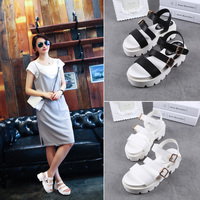 2015 new summer thick soled sandals and coarse female students are Rome word buckle platform shoes
