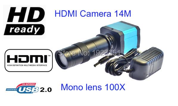 Free shipping,14MP HDMI+USB Ultra HD Industry Video Microscope Camera 8X digital zoom 720p Video output+Camera mono lens(China (Mainland))