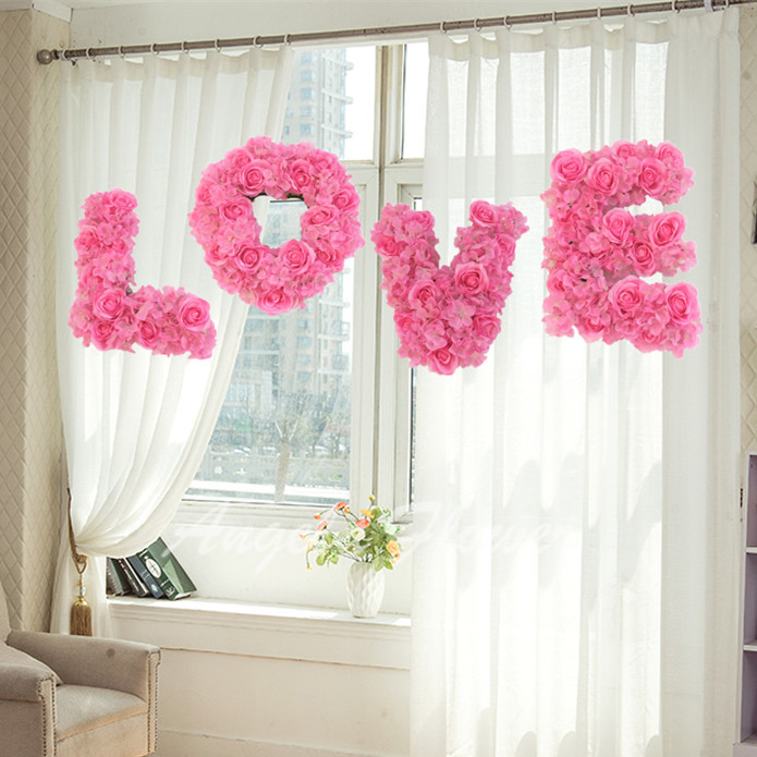 LOVE wedding Setting wall decoration flower Store window decoration items artificial rose flower(China (Mainland))