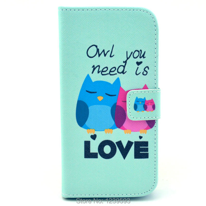 #1759 Cute Blue Little Owl PU Leather Wallet Card Case For LG Google Nexus 5 One Piece Free Shipping(China (Mainland))