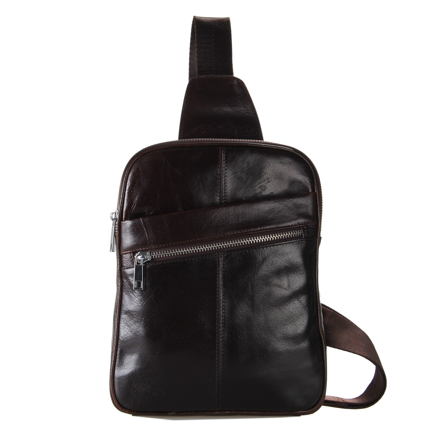Leather Men's Casual Chest Pack High-grade Leather messenger bags genuine leather shoulder bag 7217c