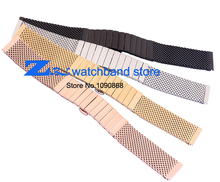 2015 new thick Stainless steel Watchband  Mesh steel strap width 20mm 22mm mesh bracelet Butterfly silver black gold rose gold