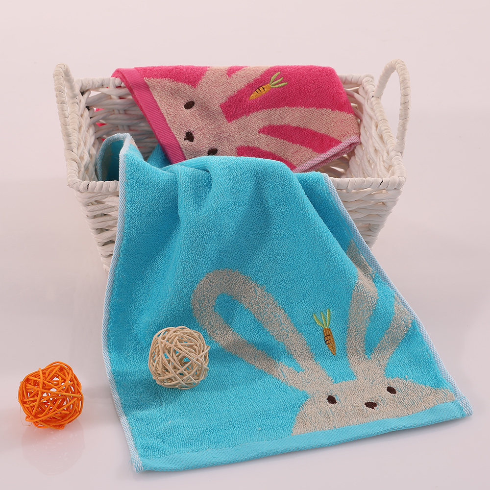 Soft Pure Cotton Kid Towel Chlidren gift face towel lovely rabbit pattern cotton towel good quality(China (Mainland))