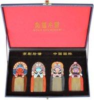 Rare!Guaranteed 100% Chinese Characteristics gift high grade spun gold wood comb beijing opera mask business gift-n529(5-8)