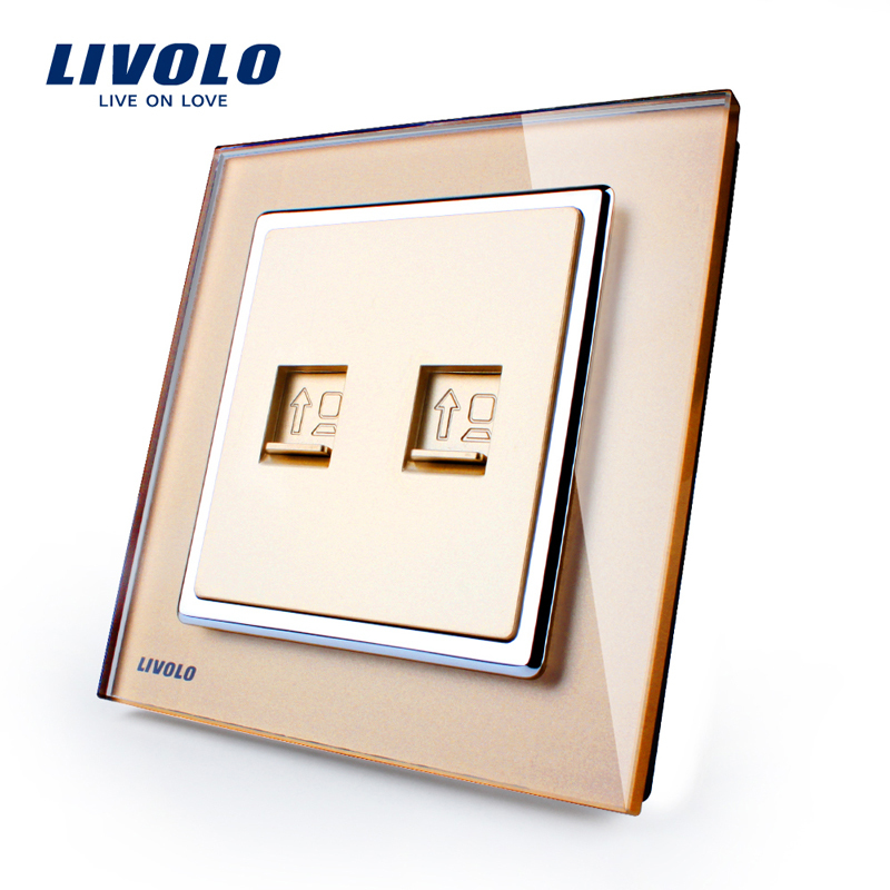 Hot Sale, Manufacture Livolo, Three Types Color, Luxury Crystal Glass Panel, 2 Gangs Wall Socket for Computers VL-W292C-13(China (Mainland))