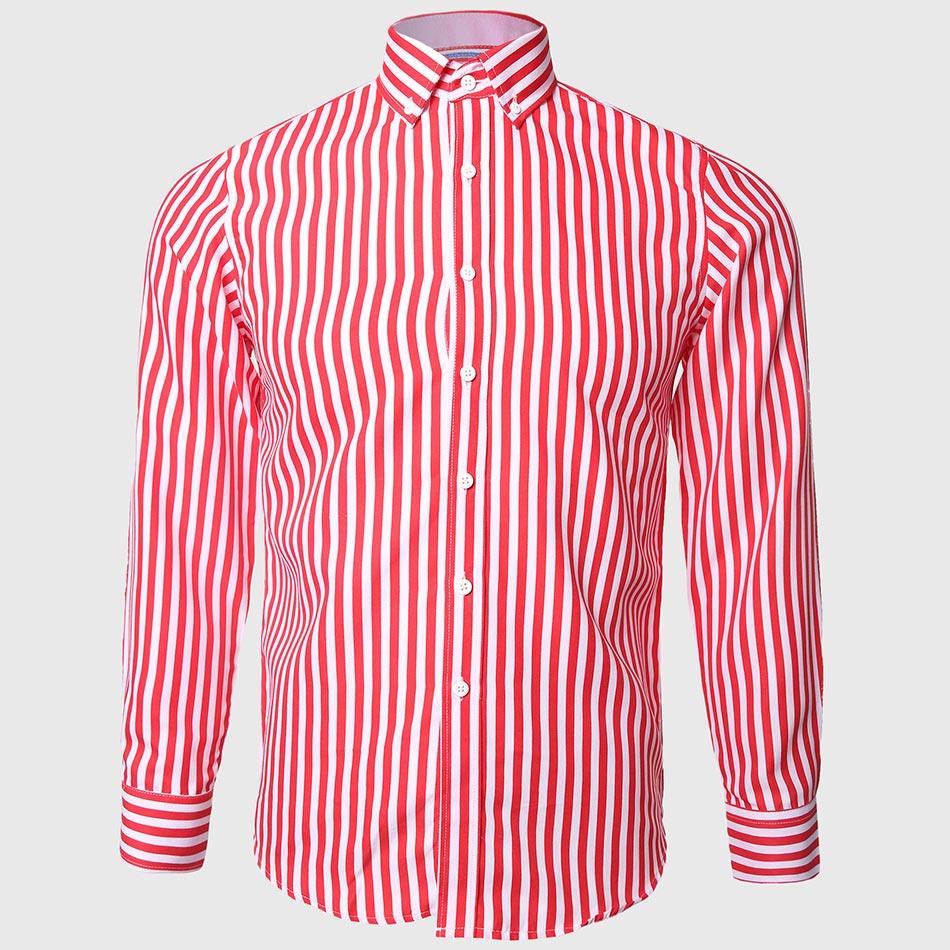 Men red white shirts striped designer button down collar for Red and white striped button down shirt