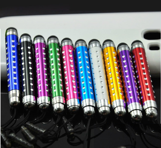 500pcs Mini Retractable Stylus Capacity screen touch pen with anti dust plug cap for iphone/ipad(China (Mainland))