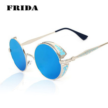 Gothic Steampunk Women Men Sunglasses Coating Mirrored Sunglasses Round Circle Sun glasses Retro Vintage Gafas Masculino Sol