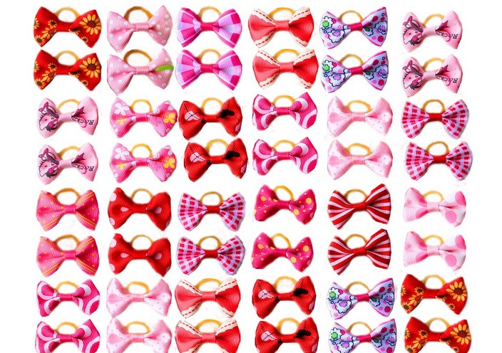 New 600pcs/lot pet dog hair bows rubber bands pet dog grooming bows pink rose red girls dog hair accessories grooming product(China (Mainland))
