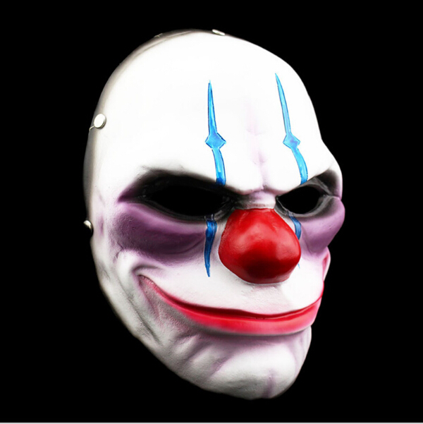 HOT 1 Pcs Pay Day Clown Party Halloween Dance Full Mask Of Vengeance Cosplay Resin Theme Game Mask Halloween Dance Full Mask(China (Mainland))