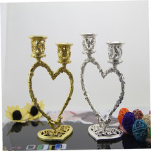 Home decoration candle holder candle stand heart double wedding decoration lovers gift  candle stick(China (Mainland))