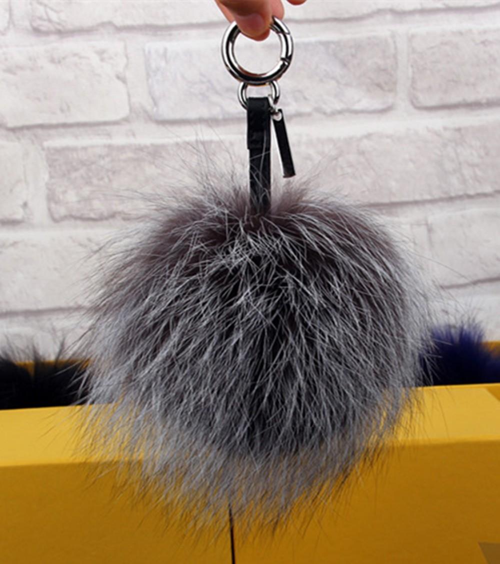 13cm Ball key chains Big real fox fur ball bag charm fur pom poms car pendant luxury fend brand keychains bag bug car suspension(China (Mainland))