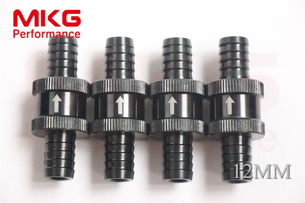 Free shipping 100% High Quality 12mm Alloy Non Return One Way Fuel Check Valve Petrol Diesel black 4pcs(China (Mainland))