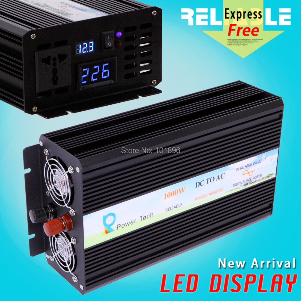 Double LED Display Factory Offer 12V/24V48V DC to 110V/220VAC 1000W High Frequency Inverter Pure Sine Wave(China (Mainland))